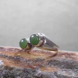 Sterling Silver Jade Ring TWIN SUN Studio Design